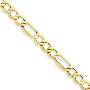 Men's 6.25mm, 10k Yellow Gold Hollow Figaro Chain Necklace, 24 Inch