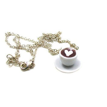 Latte Necklace, Charm Necklace, Charm Jewelry, Cappuccino Necklace, Latte Jewelry, Coffee Charm, Cafe Necklace, Coffee Lover Charm