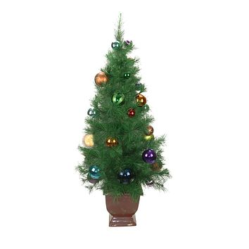 4' Potted Pre-Decorated Multi-Color Ball Ornament Artificial Christmas Tree - Unlit