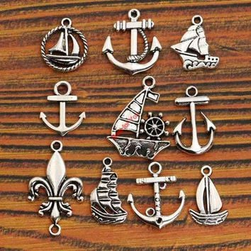 DKF4S Mixed Tibetan Silver Tone Anchor Rudder Charm Pendants for Bracelet Necklace Jewelry Accessories Diy Jewelry Making