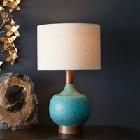Modernist Table Lamp, Turquoise/Natural