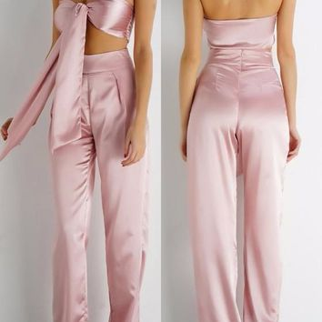 Pink Crop 2-in-1 Bandeau Sewing Mid-rise Fashion Long Jumpsuit