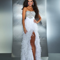 Mac Duggal Prom 2013- White Feather Gown With Bling Top - Unique Vintage - Cocktail, Pinup, Holiday & Prom Dresses.