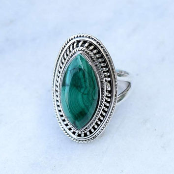 Melachite ring, silver ring, stone ring, silver Melachite ring, 92.5 sterling silver, Melachite Silver Ring,RNSLML206