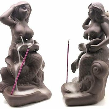 OTOFY Mermaid Ceramic Incense Holder Backflow Incense Burner with 10 Incense Cones Artwork Home Décor Figurine Aromatherapy Sculptures Fantasy Gifts