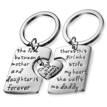 Boniskiss 3PCs Dad Dughter Mommy Stainless Steel Lovers Heart Family Keychain Gifts Keyring Charm Women