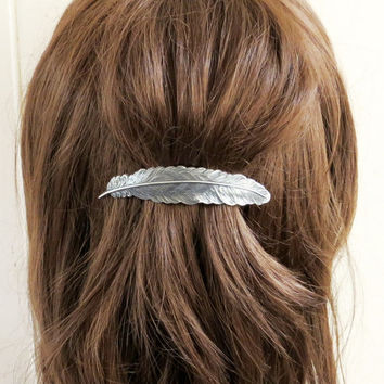 Steampunk Feather Barrette- Sterling Silver Ox Finish Feather French Barrette- Large Feather