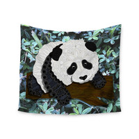 "Art Love Passion ""Panda"" Black White Wall Tapestry"