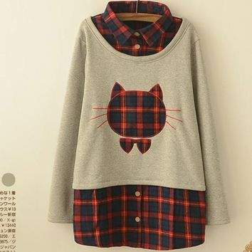 Winter Thick Cute Cat Pullovers Casual Full Sleeve Character Women Tops Fashion Plaid Turn-down Collar Clothing