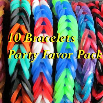 Party Pack 10 Rainbow Loom Fishtail Bracelets, Party Favors, birthday favors, class party, themed party, birthday party