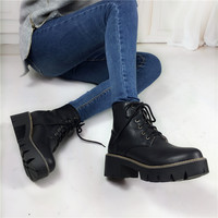 Autumn Winter Fashion Women's Lace-Up Sexy Women Boots Platform punk Black Ankle boots Combat Ankle Martin Boots Plus Size 34-43
