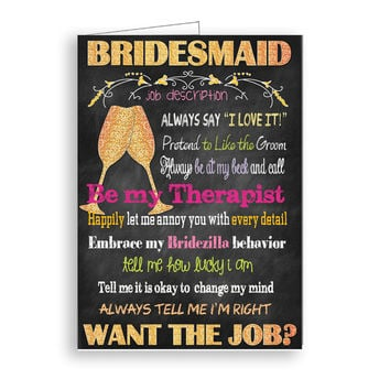 Will You Be My Bridesmaid  Bridesmaid Job Description  Gold Glitter Printable