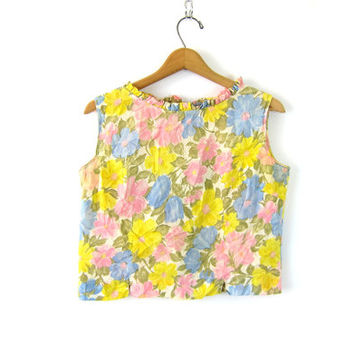 Floral Print 60s Crop Shirt Graphic Printed Tank Top Pink Button Back Sixties MOD Cropped Tee Tank Top Shirt Louannes Vintage Size Medium