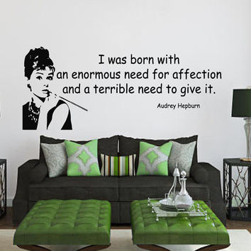 Wall Decals Vinyl Decal Quote Audrey Hepburn I Was Born ... Home Vinyl Decal Sticker Kids Nursery Baby Room Decor kk80
