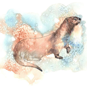 Otter Painting - Original Watercolor - 8x10 Print - Woodland Nursery Theme - Spirit Animal - Animal Lover Gift - Home Decor - Otter Wall Art