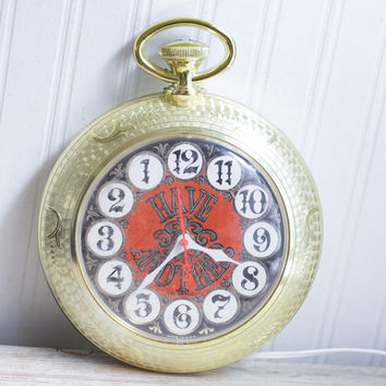 Vintage Bar Wall Clock, Pocket Watch Have Another, Funny Humorous Home Bar Decor
