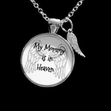My Mommy Is In Heaven Guardian Angel Wing In Memory Necklace