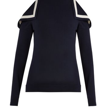 Cut-out shoulder silk-blend knit sweater | Oscar De La Renta | MATCHESFASHION.COM UK