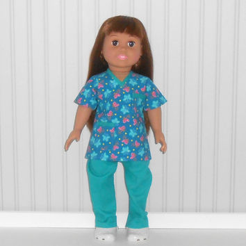 American Girl Doll Clothes Medical Nurse Scrubs with Butterflies and White Shoes fits 18 inch dolls