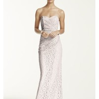 Long Strapless Lace Dress with Sweetheart Neckline - Davids Bridal