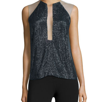 Sleeveless Embellished Top, Slate, Size:
