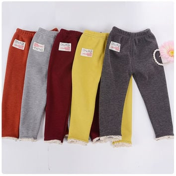 2015 new fashion Autumn winter lace warm cotton and thick velvet  children pants girls leggings 0-4 years girl pants