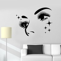 Vinyl Wall Decal Girl Face Eyelashes Eyebrows Stars Stickers (2244ig)