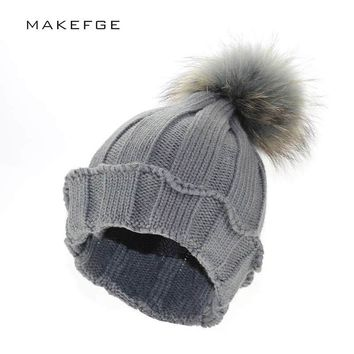 raccoon fur ball hat Mink Fur Pom Poms Knitted Hat Ball Beanies Winter Hat For Women Girl Wool Hat Cotton Skullies Female Cap
