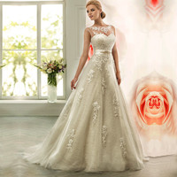 Vestido de noiva 2016 A-Line Wedding Dress Illusion Neck Wedding Gowns Vintage Wedding Dresses Belt Robe de mariage Trouwjurk