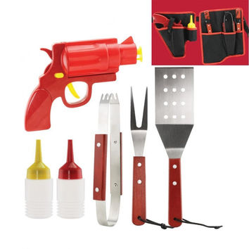 7 Piece Bbq Tool Set And Condiments - Bl