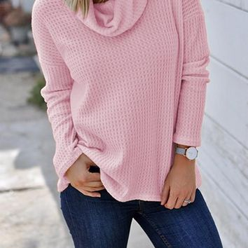 New Pink Patchwork High Neck Casual Knit T-Shirt
