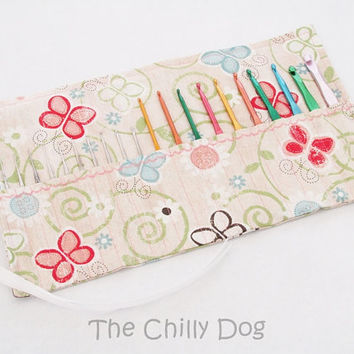 Roll Up Crochet Hook Case: Spring Butterflies and Buttons