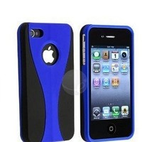 Blue 3-Piece Snap On Hard Case Cover For AT&T Verizon Sprint Apple iPhone 4 4S