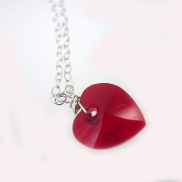 Red Heart Swarovski Necklace, Heart Necklace, Red Heart, Swarovski, Sterling Silver Necklace, Gift Idea, Gift for Her, Anniversary Gift,