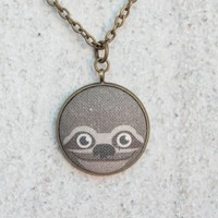 Sloth Fabric Covered Button Necklace