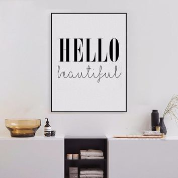 Hello Beautiful Quote Canvas Art Print Poster, Simple Style Wall Pictures for Home Decoration, Wall Decor