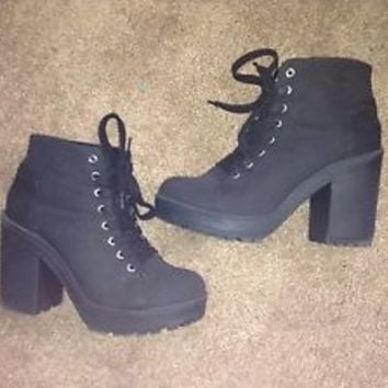 H&M Divided black lace up hi heel platform ankle boots witchy