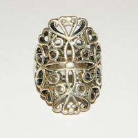 Vintage Lacey Silver Ring size 9
