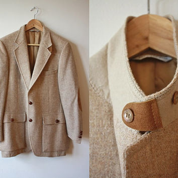 Tan Tweed Sportcoat Suede Leather Elbow Pads Details Mens Vintage