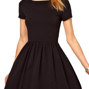 Maykool Women's Short Sleeve Simple Pleated Holiday Sloid Color Dress