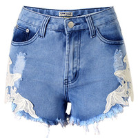 Blue Side Lace Embroidered Stitching Casual Frayed Hole High Waist Denim Shorts