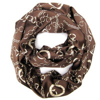 Paris Fashion Scarf Womens Endless Loop Scarf Paris and Chains Circular Infinity Paris France Scarf