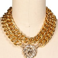Gold 2-Row Chain Link Lion Necklace