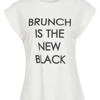 "White ""Brunch Is The New Black"" Letter Print Roll-up Sleeve T-shirt"