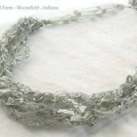 Silver Gray Ladder Necklace - Soft and Luxurious Look