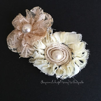 Shabby Chic Barrette. Fabric Flower Barrette. Dusty Rose and Cream barrette
