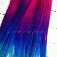 Pink Rainbow Hair/Tie Dye Hair/Fantasy Fest/Pink/Purple/Blue