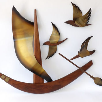 MCM Walnut Teak Ship & Birds Brass Wall Art Hanging Wall Decor Danish Modern Wood Sailboat Boat Sea Ocean Seagulls Mid Century Living Room