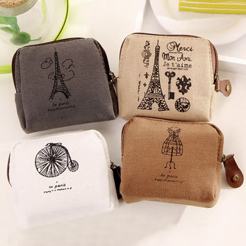 Unisex Ladies Retro Paris Cheapest Canvas Small Zip Change Coin Purse Key Car Pouch Little Money Bag Girl's Mini Coin Wallet