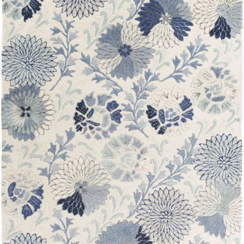 Vintage Floral and Paisley Area Rug Blue